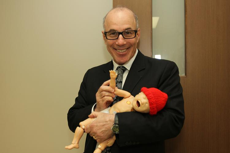OUTTAKE REEL: One of the things I like most about Dr. Klasko beyond his crazy intellect and commitment to medicine with emotional intelligence is that he doesn't take himself too seriously. Here, he poses with a baby dummy.