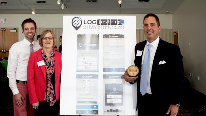 The Logjustrips team won the 2015 Venture Sharks competition. From left to right: Matt Tannahill, software developer; Sarah Abraham, researcher; and Steve Arkon, founder.