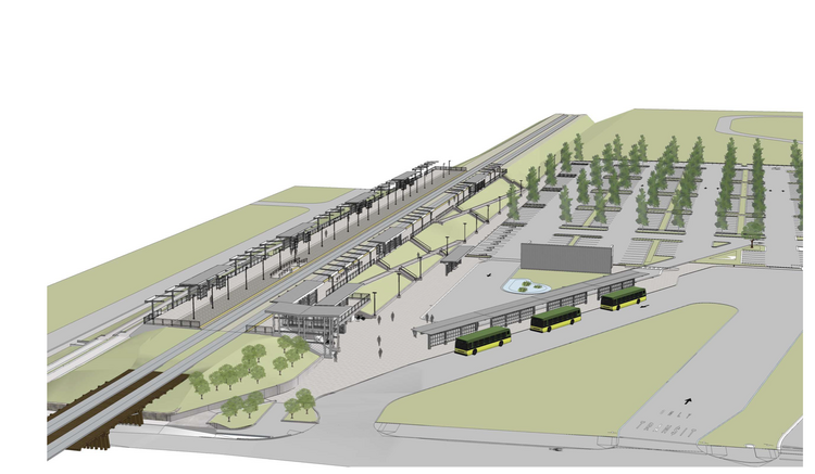 Design rendering shows a view from the northwest of the permanent Tukwila Sounder Station. Construction on the station will begin June 24.