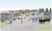 This design rendering shows a view of the plaza from the northwest at the future permanent Tukwila Sounder Station. The station is expected to open in fall 2014.