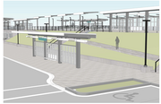 This design rendering shows a bus transfer area to be built at the permanent Tukwila Sounder Station.
