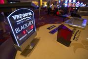 A blackjack table in the casino, which includes 36 table games.