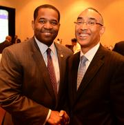 Ceasar Mitchell, left, and DeKalb County CEO Burrell Ellis at the Atlanta Business League's CEO Appreciation Luncheon on May 7.
