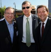 Raymond King of Zoo Atlanta, from left; Bill Rogers and William Pate of the Atlanta Convention and Visitors Bureau at the groundbreaking for the National Center for Civil and Human Rights in June 2012.