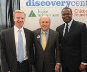 Jack Harris of Junior Achievement of Georgia, from left, Dan Cathy and Mayor Kasim Reed at the Jan. 9 groundbreaking on the JA Discovery Center.
