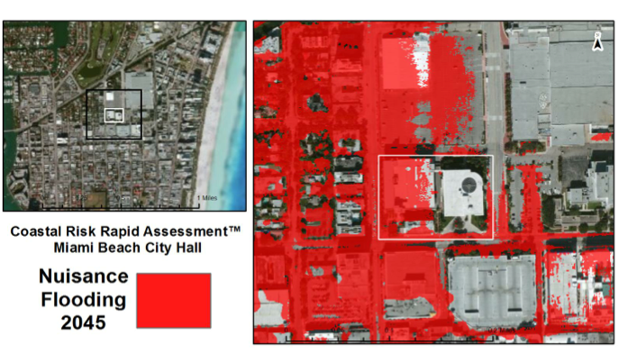 """Coastal Risk Consulting's map of Miami Beach City Hall shows that the property will see """"nuisance flooding"""" — one to two feet of water — for up to 88 days in 2045."""