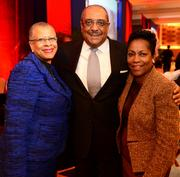 Geri Thomas, from left, Milton Jones and Evern Cooper Epps at the State of the City Business Breakfast on Feb. 13.
