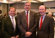 David Allman of Regent Partners LLC, from left, Tad Leithead of the Atlanta Regional Commission, and John Brock at the ARC's State of the Region breakfast on Oct. 12, 2012.
