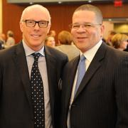 Rich McKay, left, and Fulton County Commission Chair John Eaves at the Rotary Club of Atlanta last November.