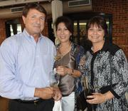 From left, Doug Shows, Valerie Shows and Janice Scott at the Astronaut Wives' book launch in Houston.