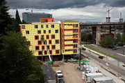 A view of the Emery apartment project, slated to open Sept. 1, 2013 at Zidell Yards at Portland's South Waterfront. This image was taken from the east end of the Lair Hill-South Waterfront pedestrian bridge.