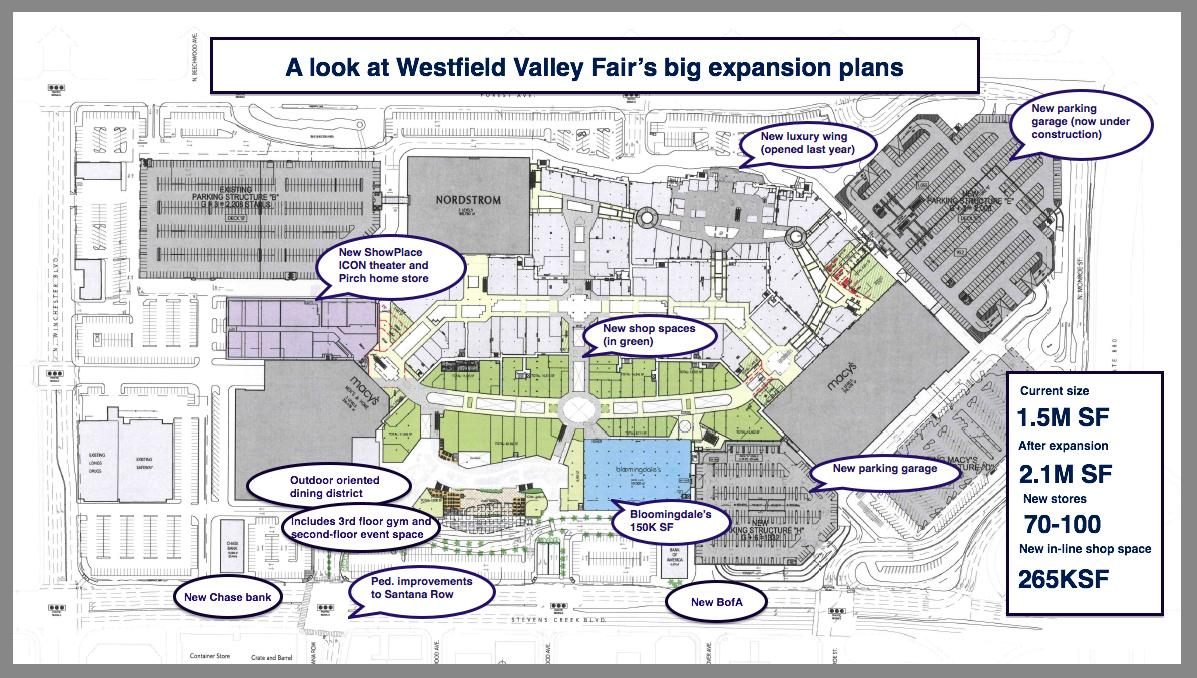 Westfield Valley Fair Expansion Plans Feature Bloomingdales - San jose great mall map