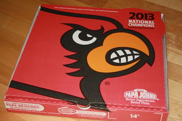 Papa John's will offer limited-edition pizza boxes at Louisville-area restaurants to celebrate the University of Louisville NCAA men's basketball championship.