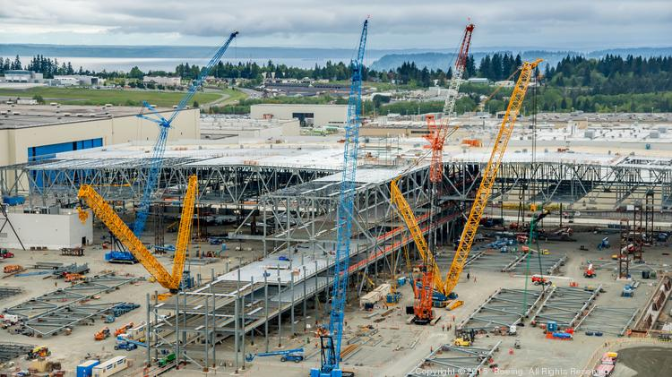Boeing 777X wing plant gets a roof as $1 billion project takes shape