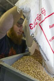 Malt is poured into the grain mill at the Columbus Brewing Co. by Chris Davison.