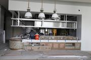 Construction on the hotel's restaurant, Kitchen Notes, continues on the new Omni Hotel.