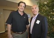 David Maley, former NHL player and president of the Silver Creek Sportsplex, with John Tortora, the new COO of the San Jose Sharks. Maley and Tortora spoke on new technology and the hot Silicon Valley sports scene.