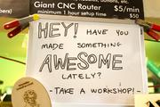 THE DRAWING BOARD: A sign encourages learning and creativity at Metrix Create:Space, a technology lab attracting product designers and engineers, in Seattle, Wash., on June 20, 2013.