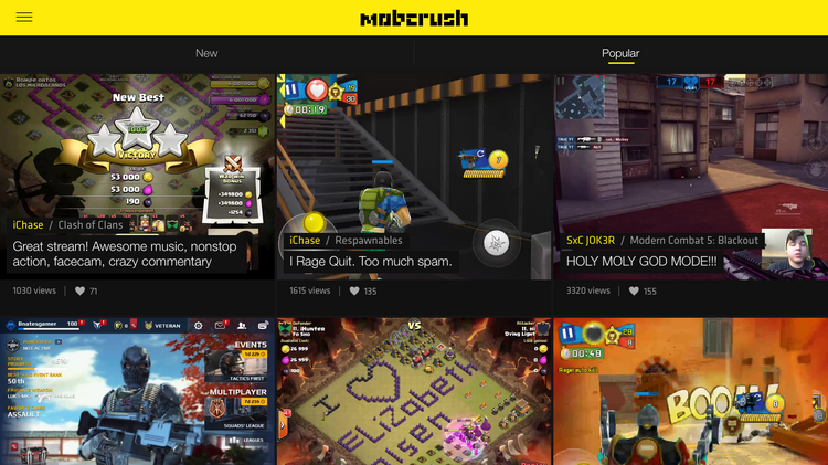 Mobcrush is a live streaming platform that enables users to broadcast, watch and chat about games as they play in real time.