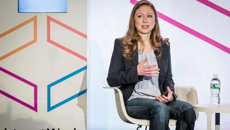 """Clinton Foundation vice chair Chelsea Clinton discusses a new report on women, """"No Ceilings The Full Participation Project"""" at Internet Week New York."""