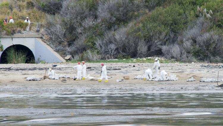 Crews are completing clean-up of the oil along Refugio State Beach in Goleta, California, following a spill from Plains All American Pipeline. The company experienced a second leak in southwest Illinois on July 10.