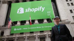 Shopify surges on double stock market debut