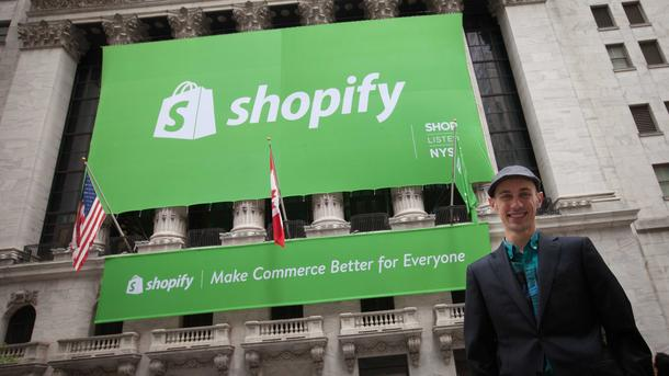 Shopify CEO Tobi Lütke stands outside the New York Stock Exchange on May 21, 2015, the day his Canadian tech startup went public.