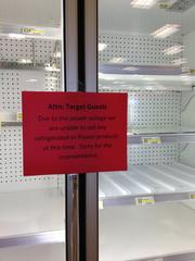 Target and many other restaurants and food retailers in the Twin Cities were forced to throw out goods impacted by power outages.