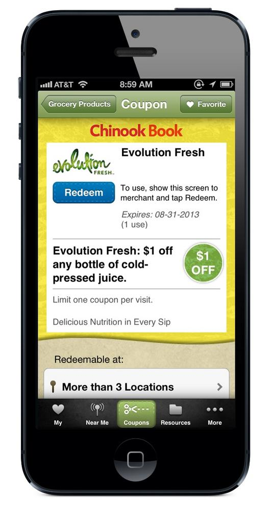 PCC Natural Markets today began accepting mobile manufacturer's coupons offered through Chinook Book.