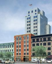 A rendering of the Hampton Inn at 942 Mission Street, designed by Stanton Architecture.