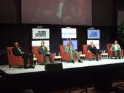 A panel featured several broadcasting veterans with Ohio State ties, from right, Meyer, Kirk Herbstreit, Eddie George, Chris Spielman and Clark Kellogg.