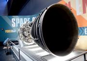 But an actual engine is on display right behind the orbiter display.