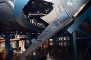 The lower level is just as impressive as the orbiter's wing is tilted in the center of the exhibits.