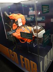 Displays surrounding Atlantis illustrate details of space travel from launch to landing.