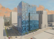 An exterior rendering of One South Market.