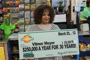 Vilmer Meyer of Austell selected the winning numbers in the March 8, 2012 Decades of Dollars drawing, winning $250,000 a year for 30 years.