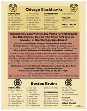 The Blackhawks and Boston Bruins rosters were on the other side, along with a message from the Guild.