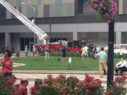 Firefighters responded to the scene outside U.S. Bank Plaza around 5 p.m. Tuesday.
