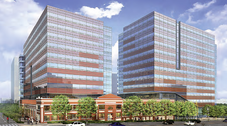 The two-building office project that Touchstone Corp. is proposing for Seattle's South Lake Union will be built around the old Troy Laundry, shown here at the base.