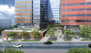 Touchstone's plans for the two-building office project call for a courtyard on the Boren Avenue side of the project, as shown in this rendering.