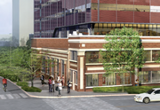 A rendering shows the southeast entry to a building in the office project to be started by Touchstone Corp. before the end of the year. The Troy Laundry building can be seen in the foreground.