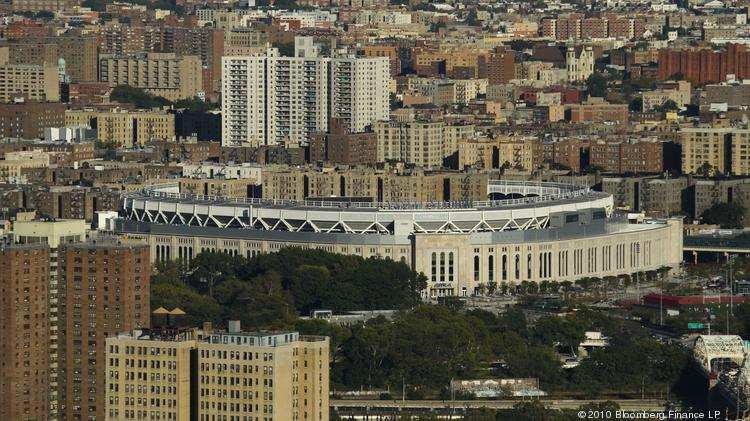 An aerial view of Bronx, including the Yankee's stadium