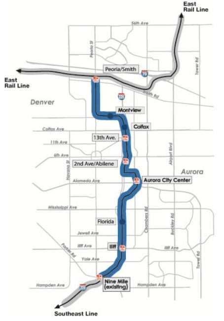 Map shows planned route of RTD's I-225 light rail line and stations before the route change approved Tuesday night.