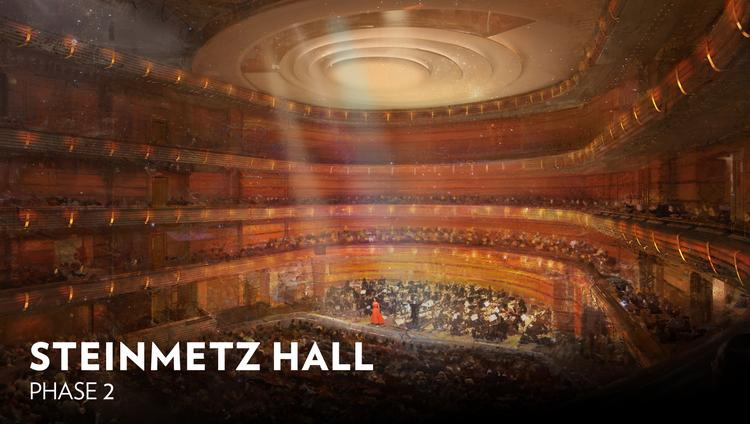 The new 1,700-seat acoustical theater will be named the Steinmetz Hall after local donors Chuck Steinmetz and Margery Pabst Steinmetz.