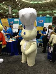 General Mills Inc. had the Pillsbury Doughboy at its booth.