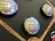 """Creative Resources created these buttons for the Twins when the team was faced with snow during a home game.""""Sprinter"""" is a combination of """"spring"""" and """"winter"""". The team called Creative Resources at 11 a.m. and the company had to get the buttons to the team by 4 p.m. that day."""