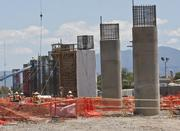 Columns in various stages of construction will one day support the Berryessa BART Station, set to open in 2017.
