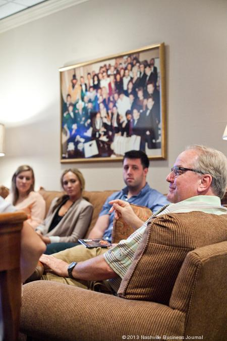 Belmont University students listen to Mark Wright, president of Show Dog-Universal Music, during the BMI-supported Catalog Cast course, which focuses on how to pitch songs.