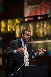 University of Missouri-Kansas City Chancellor Leo Morton said the university welcomes the challenge of raising $70 million in order to net the $20 million gift for a downtown arts campus announced Wednesday.