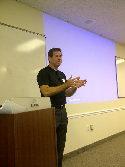 Jamie Grooms, CEO of the Institute for Commercialization of Public Research, speaks at The Saturday Exchange.